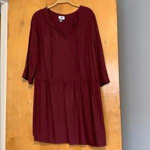 Burgundy drop waist dress